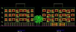 پلان معماری مجتمع مسکونی سه طبقه، چهارده واحدی