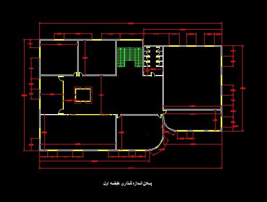 فایل اتوکد پلان معماری طبقه اول مدرسه 2 طبقه با اندازه گذای کامل قابل ویرایش