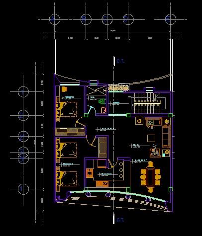 فایل اتوکد پلان معماری طبقه اول منزل مسکونی با مبلمان کامل قابل ویرایش