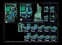 پروژه کامل اتوکد آپارتمان مسکونی مدرن 16 طبقه مجموعه کامل پلان ها و برش قابل ویرایش