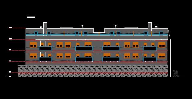 فایل اتوکد نما مجتمع مسکونی 5 طبقه با کد ارتفاعی کامل قابل ویرایش